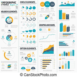 wielki, infographic, wektor, t, elementy
