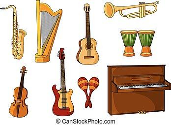 wielki, instrumentować, komplet, różny, muzyczny