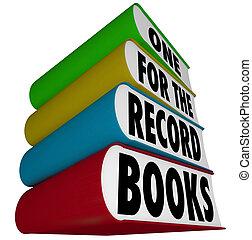 wielki, jeden, rekord, karb, książki, wynik, słówko, record-breaking, albo, ilustrować