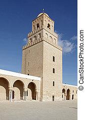 wielki, kairouan, unesco, tunezja, -, meczet, umiejscawiać, ...