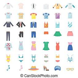 wielki, komplet, od, odzież, ikony