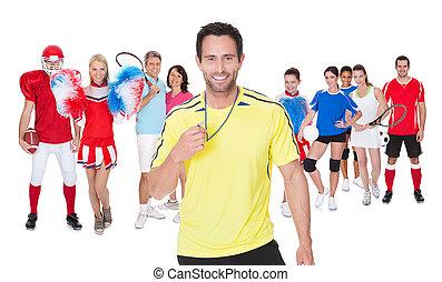 wielki, lekkoatletyka, grupa, ludzie