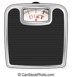 wielki, lifestyle., strata, ciężar oskrobuje, zdrowy, mechaniczny, person., floor., topic, masa, tłuszcz, dieta, ilustrować