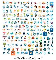wielki, logos, komplet, podróż, wektor