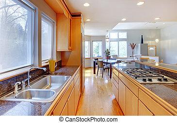 wielki, luksus, nowoczesny, drewno, kuchnia, z, granit, kantor, tops.