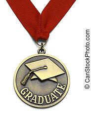 wielki, medal, absolwent