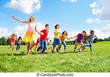 wielki, park, wyścigi, dzieciaki, grupa