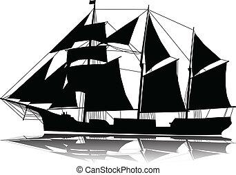 wielki, statek, nawigacja