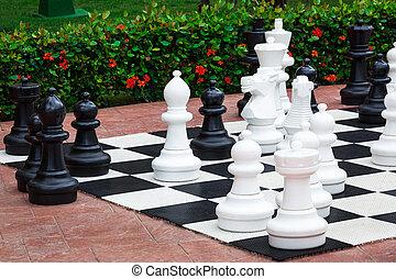 wielki, szachy, outdoors