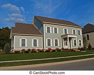 wielki, szary, dwa-historii, dom