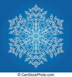 wielki, szczegółowy, jednorazowy, płatek śniegu