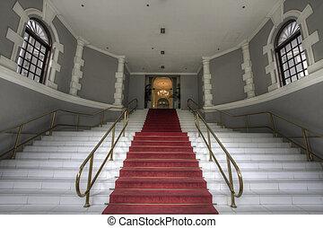 wielki, wejście, schody