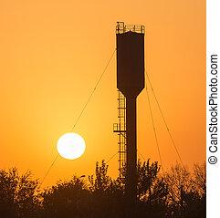 wielki, zachód słońca, zbiornik