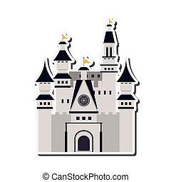 wielki, zamek, ikona