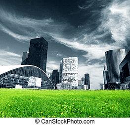 wielkie miasto, i, zielony, świeży, łąka