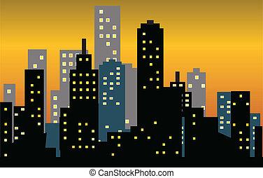 wielkie miasto, sylwetka na tle nieba, zachód słońca