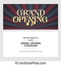 wielkie otwarcie, ilustracja, tło, wektor, zaproszenie, karta