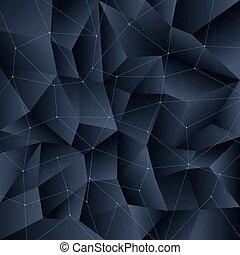 wielobok, kwestia, kryształ, złączony, tło, czarnoskóry, budowa