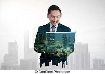 wieloraki, tabliczka, handlowy komputer, dzierżawa, ekspozycja, człowiek