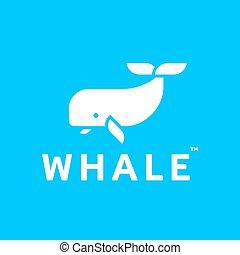wieloryb, logo, abstrakcyjny, modny, płaski, styl, icon.