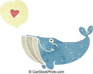 wieloryb, miłość, retro, rysunek