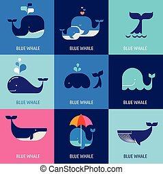 wieloryb, wektor, zbiór, ikony