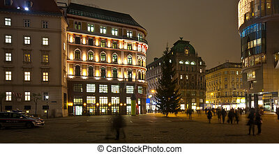 wien, in, night., österreich