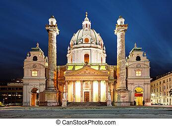 wien, nacht, -, str., charles's, kirche, -, österreich