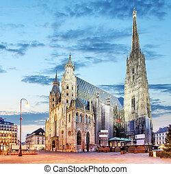 wien, str., -, stephan, kathedrale, österreich, wien
