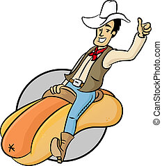 Wiener Cowboy - Happy cowboy riding on a hot god vector...