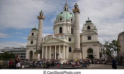Wiener Karlskirche (Saint Charles's Church) at Karlsplatz with blue sky  and clouds on a sunny day in summer, Vienna, Austria.