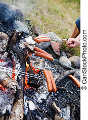 Wiener Roast - A wiener roast over an open fire