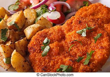 Wiener schnitzel, salad and fried potatoes close-up....