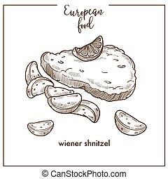 Wiener schnitzel sketch icon for European German Austrian food cuisine menu design