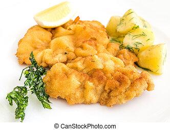 wiener schnitzel, veal cutlet and lemon,
