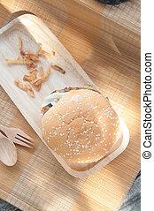 wieprzowina, tradycyjny, drewno, swojski, taca, hamburgery