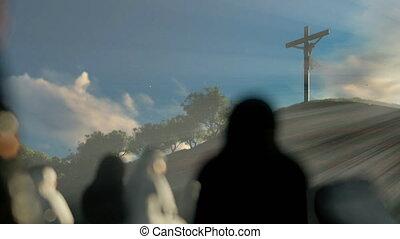 wierzący, krzyż, jezus, świt, modlący się, religijny