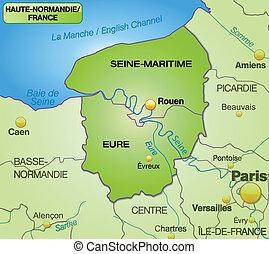 wierzchni,  Normandy, mapa