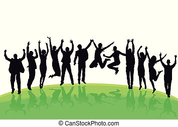 Wiesen Freuden.eps - Spaß und springen in der Gruppe