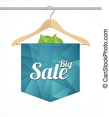wieszak, sprzedaż, wektor, kolekcje, szablon, odzież