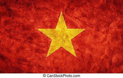 wietnam, grunge, flag., pozycja, z, mój, rocznik wina, retro, bandery, zbiór