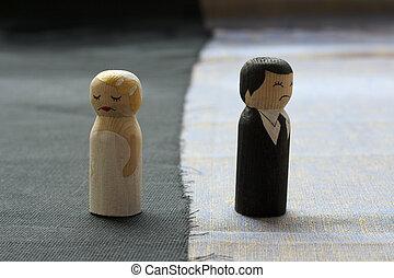 wife and husbend doodles in divorce process concept broken...
