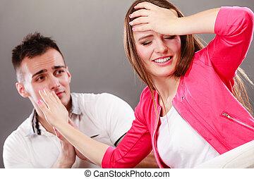 wife., chiedere scusa, arrabbiato, scombussolare, woman., marito