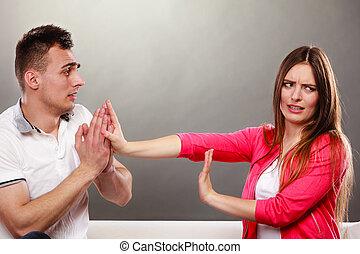 wife., desculpar, zangado, transtorne, woman., marido