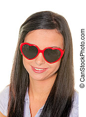 Wife flirts with heart-shaped sunglasses