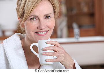 Wife having a cup of tea