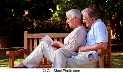 Wife leaning on husband on a bench and reading a book in a...