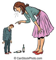 wife scolding drunk husband. alcoholism. Pop art retro...