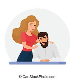 Wife supporting depressed husband flat vector illustration