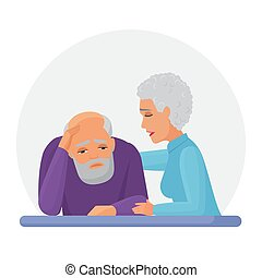 Wife supporting depressed husband flat vector illustration. Mental disorder, psychotherapy concept. Old woman consolation sad senior cartoon characters. Woman comforting upset man.